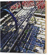 Park Bench With Flowers Wood Print