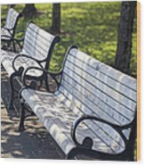 Park Benches At Portland Waterfront Park Wood Print