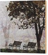 Park Benches Square Wood Print