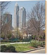 Park In Uptown Charlotte Wood Print