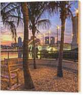 Park On The West Palm Beach Wateway Wood Print