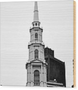 Park Street Church Boston Black And White Wood Print