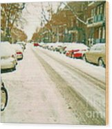 Parked Cars Snowed In Cold December Day Verdun Painting Quebec Winter Scenes Carole Spandau Art Wood Print