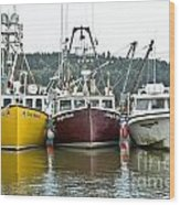 Parked Fishing Boats Wood Print