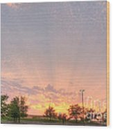 Parking Lot Sunset Spray Wood Print