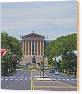 Parkway View Of The Museum Of Art Wood Print