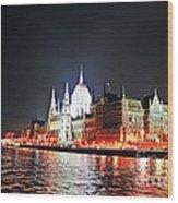 Parliament And The Danube Wood Print