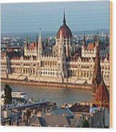 Parliament Building In Budapest At Sunset Wood Print