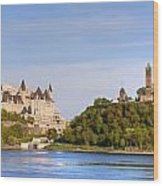 Parliament Buildings And The Fairmont Wood Print