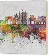 Parma Skyline In Watercolor Background Wood Print