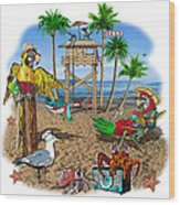 Parrot Beach Party Wood Print