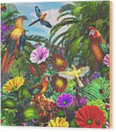 Parrot Jungle Wood Print