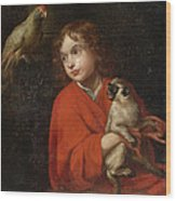 Parrot Watching A Boy Holding A Monkey Wood Print