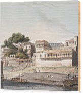 Part Of The City Of Patna, On The River Wood Print