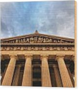 Parthenon From Below Wood Print