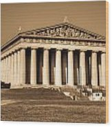Parthenon In Sepia 3 Wood Print