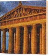 Parthenon On A Stormy Day Wood Print