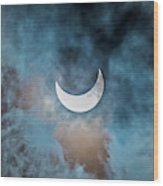 Partial Solar Eclipse In Cloud 1 Oct Wood Print
