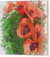 Partial To Poppies Wood Print