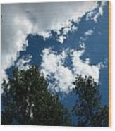 Partly Cloudy Forest Skies Wood Print