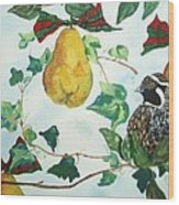 Partridge And  Pears  Wood Print