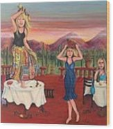 Party In Tuscany Wood Print by Cathi Doherty