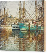 Pass Christian Harbor Sketch Wood Print