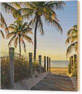 Passage to the beach at sunrise Wood Print