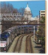 Passenger Metro Train With Us Capitol Wood Print