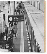 passengers along ubahn train platform Friedrichstrasse Friedrichstrasse u-bahn station Berlin Wood Print