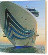 Passing Cruise Ships At Sunset Wood Print