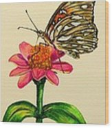 Passion Butterfly On Zinnia Wood Print