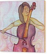 Passionate Cellist Wood Print