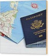 Passport And Map Of Bermuda Wood Print