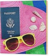 Passport On Pink Hat Wood Print