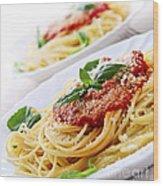 Pasta And Tomato Sauce Wood Print by Elena Elisseeva
