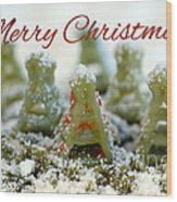 Pasta Christmas Trees With Text Wood Print