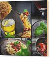 Pasta Collage Wood Print by Mythja  Photography