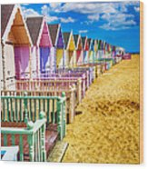 Pastel Beach Huts 2 Wood Print