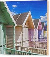 Pastel Beach Huts 3 Wood Print
