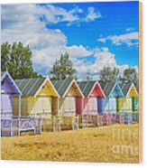 Pastel Beach Huts Wood Print by Chris Thaxter