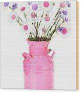 Pastel Center Daisies Wood Print