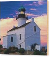Pastel Drawing Old Point Loma Lighthouse Cabrillo National Monument California Wood Print