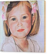 Pastel Portrait Of Girl With Flowers In Her Hair Wood Print