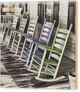 Pastel Rocking Chairs Wood Print
