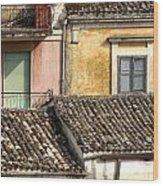 Pastel Roofscape Wood Print