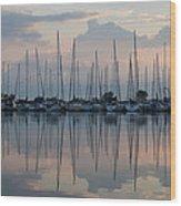 Pastel Sailboats Reflections At Dusk Wood Print