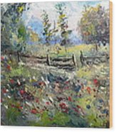 Pasture With Fence Wood Print