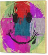 Patchwork Smiley Face Wood Print