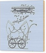 Patent Art Robinson Baby Carriage Blue Wood Print